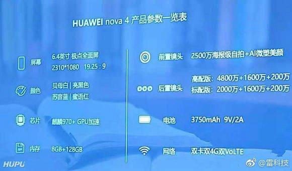 48 MP kameralı Huawei Nova 4 özellikleri sızdırıldı!